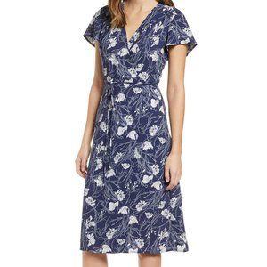 Leith Midi White Floral Wrap Dark Blue Dress